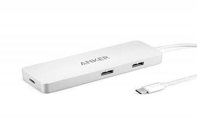 Premium USB-C Hub with Ethernet & Power Delivery (Silver)