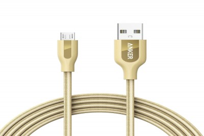 PowerLine+ Micro USB 10000 bend Braided Nylon 1.8m (Gold) with Pouch